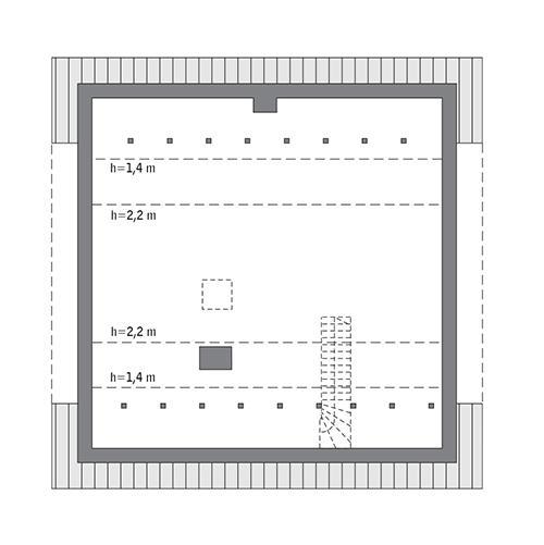 Rzut poddasza: Do indywidualnej adaptacji (58,5 m2 powierzchni użytkowej)