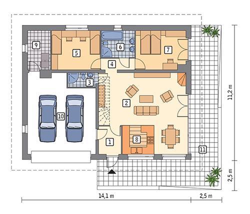 Rzut parteru POW. 126,5 m²