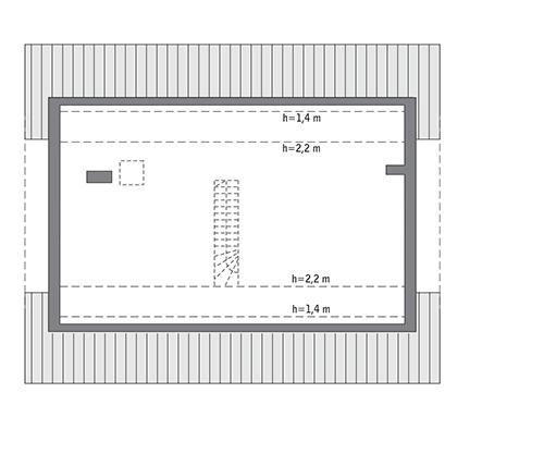 Rzut poddasza: Do indywidualnej adaptacji (83,2 m2 powierzchni użytkowej)