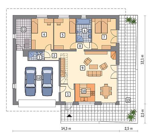 Rzut parteru POW. 139,2 m²