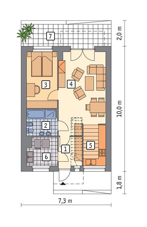 Rzut parteru POW. 55,1 m²