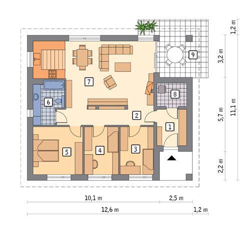 Rzut parteru POW. 97,8 m²