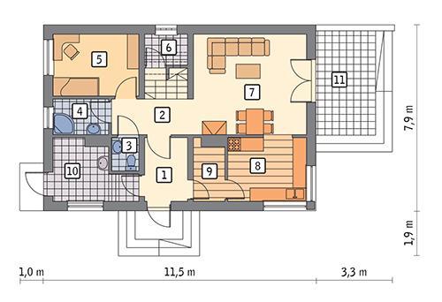 Rzut parteru POW. 65,3 m²