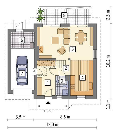 Rzut parteru POW. 89,2 m²