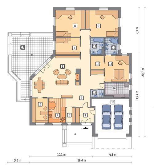 Rzut parteru POW. 221,1 m²
