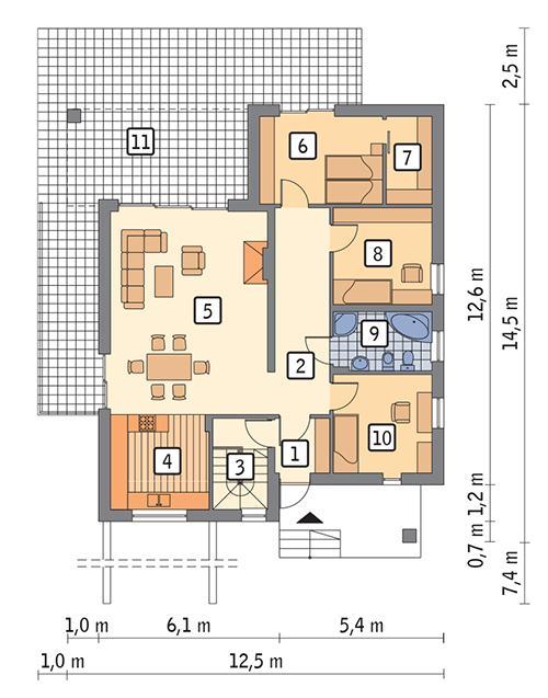 Rzut parteru POW. 106,4 m²