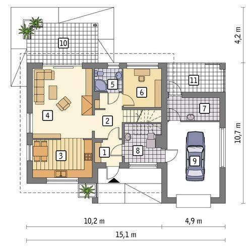 Rzut parteru POW. 94,7 m²