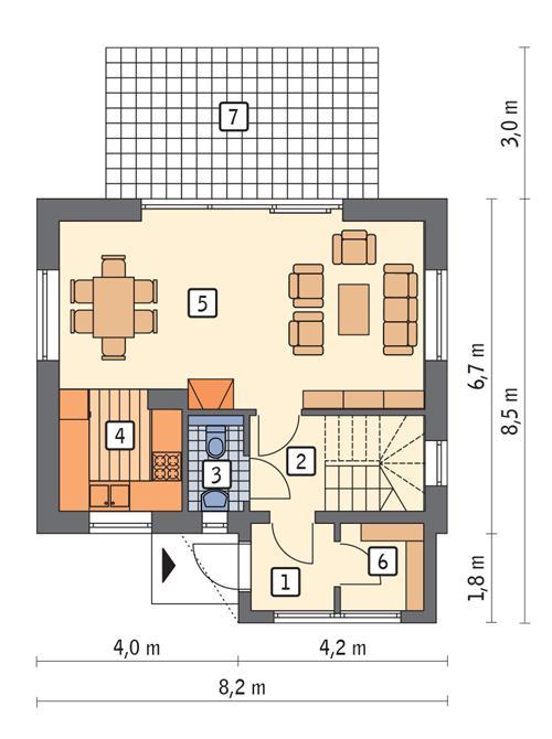 Rzut parteru POW. 44,8 m²