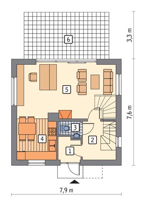 Rzut parteru POW. 44,5 m²