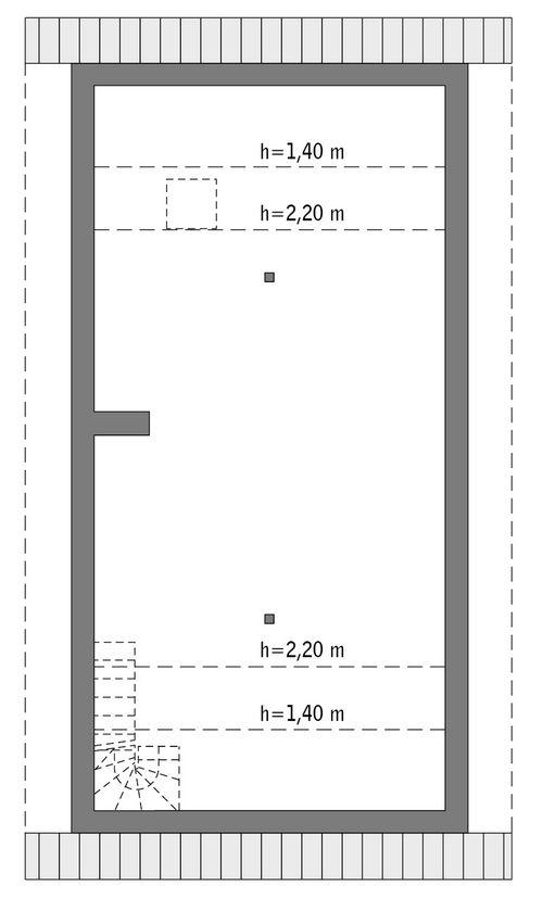 Rzut poddasza: do indywidualnej adaptacji (55,5 m2 powierzchni użytkowej)