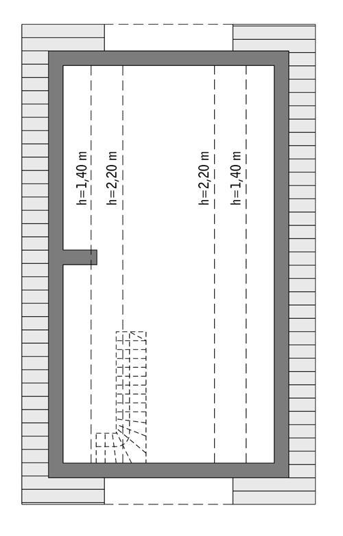 Rzut poddasza: do indywidualnej adaptacji (41,6 m2 powierzchni użytkowej)