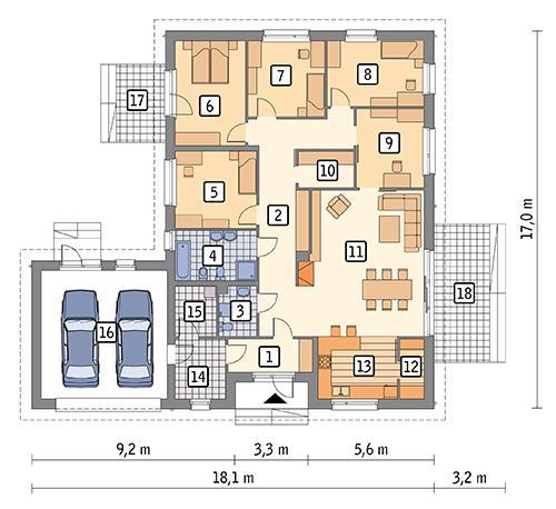 Rzut parteru POW. 195,4 m²