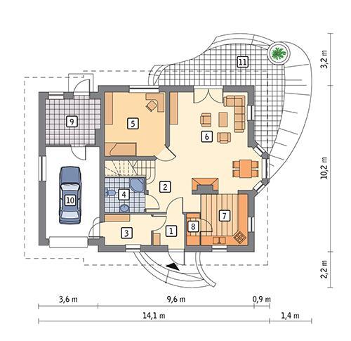 Rzut parteru POW. 100,9 m²