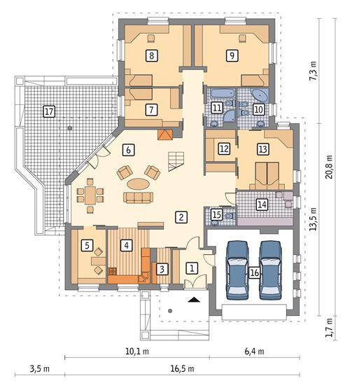Rzut parteru POW. 217,9 m²