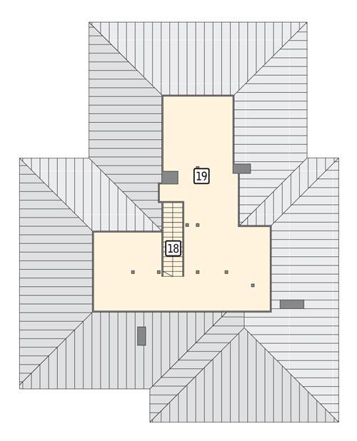 Rzut poddasza: II etap realizacji - do indywidualnej aranżacji (39,5 m2 powierzchni użytkowej)
