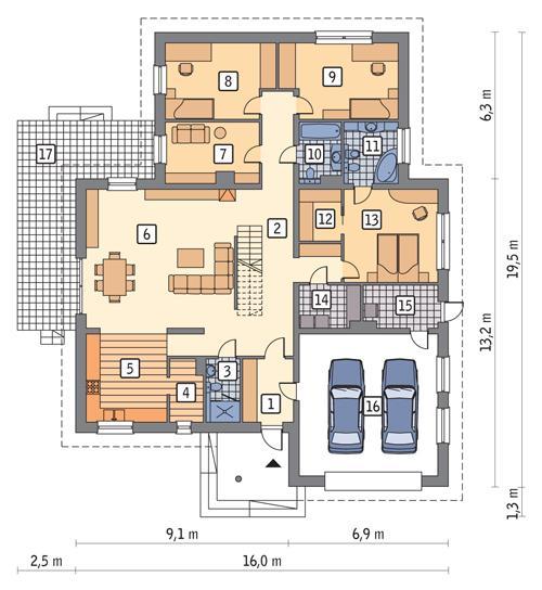 Rzut parteru POW. 202,9 m²