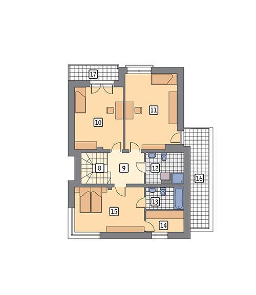 Rzut piętra POW. 96,1 m²