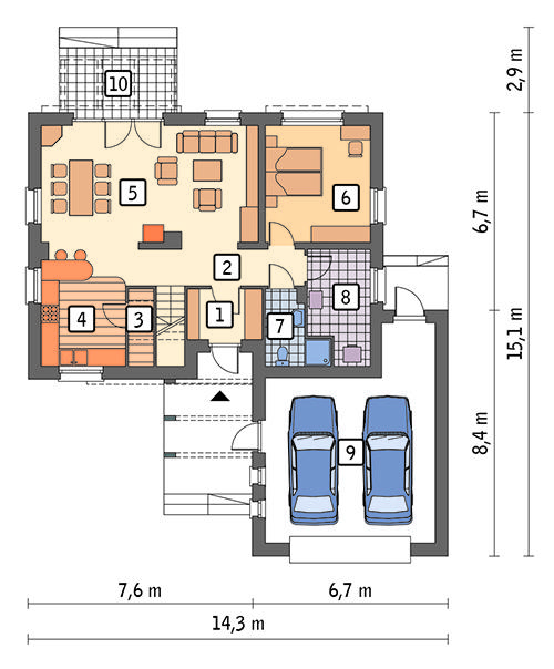 Rzut parteru POW. 115,7 m²