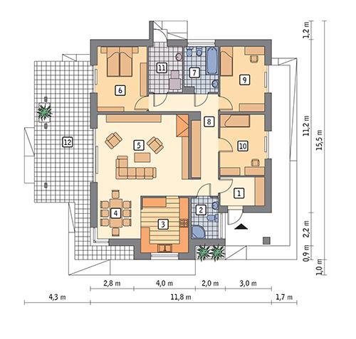 Rzut parteru POW. 122,3 m²