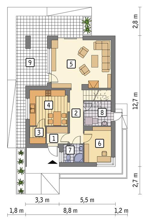 Rzut parteru POW. 67,9 m²