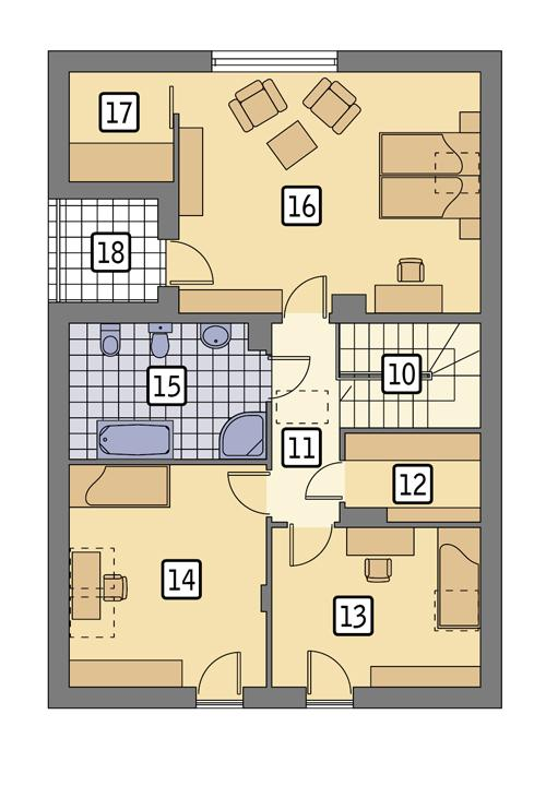 Rzut poddasza POW. 85,3 m²