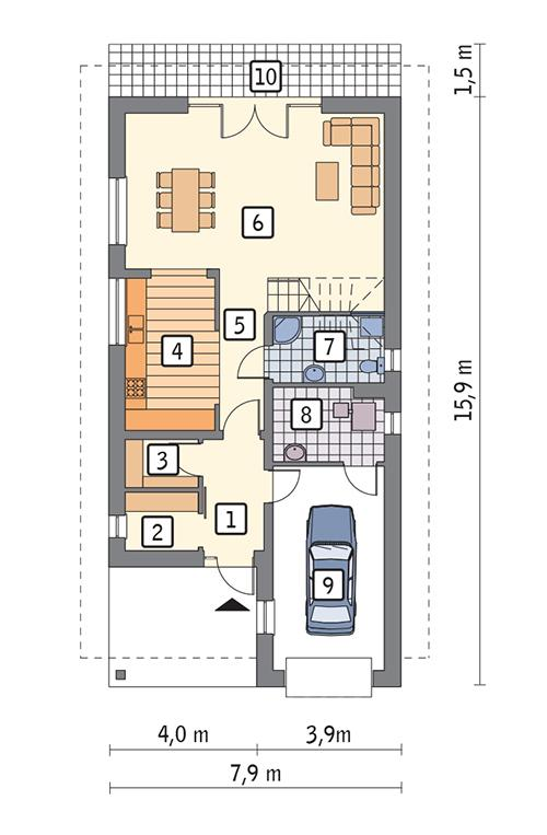 Rzut parteru POW. 85,4 m²