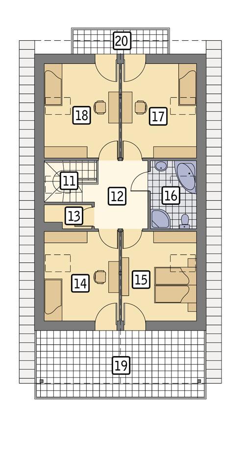 Rzut poddasza lustro POW. 107,8 m²