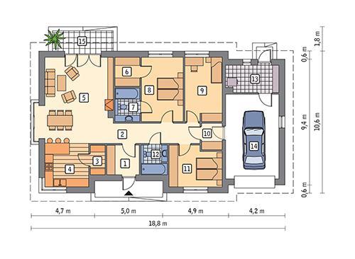 Rzut parteru POW. 148,0 m²
