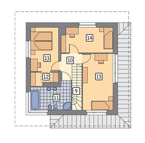 Rzut piętra POW. 52,3 m²