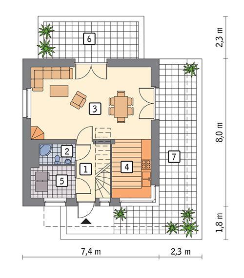 Rzut parteru POW. 41,3 m²
