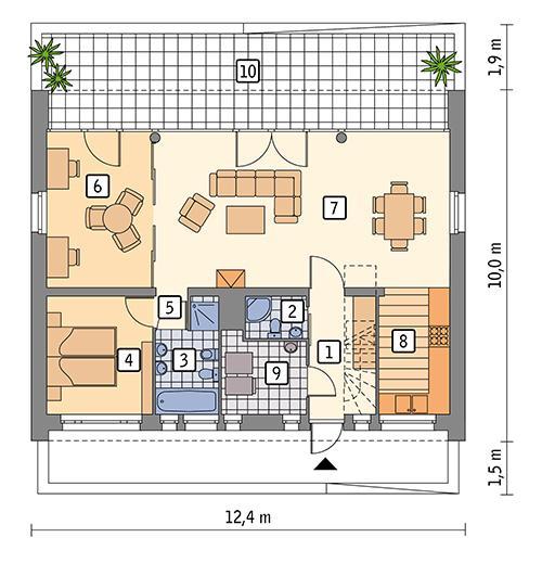 Rzut parteru POW. 82,7 m²