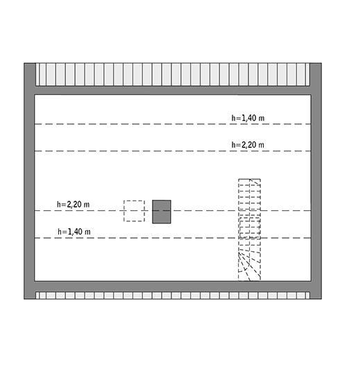 Rzut poddasza: Do indywidualnej adaptacji (40,0 m2 powierzchni użytkowej)