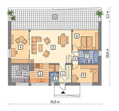 Rzut parteru POW. 99,6 m²