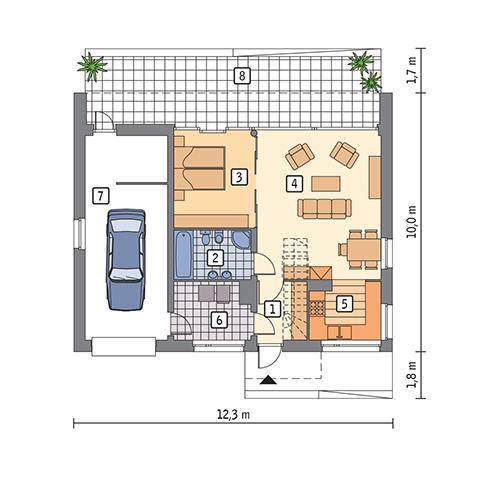 Rzut parteru POW. 83,1 m²