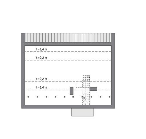 Rzut poddasza: Do indywidualnej adaptacji (43,5 m2 powierzchni użytkowej)