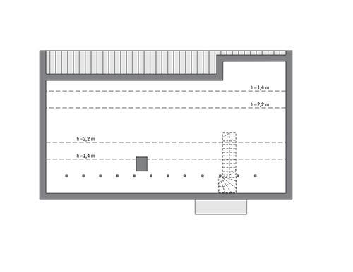 Rzut poddasza: do indywidualnej adaptacji (56,1 m2 powierzchni użytkowej)
