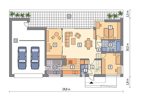 Rzut parteru POW. 145,2 m²