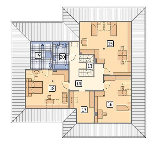Rzut poddasza POW. 154,0 m²