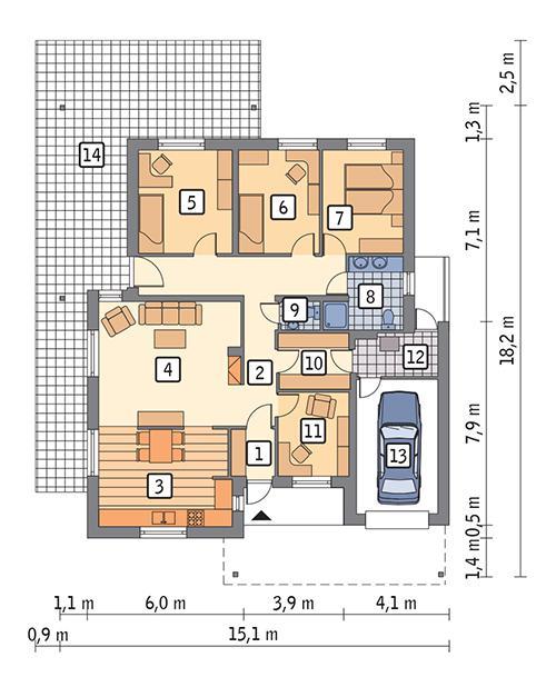Rzut parteru POW. 147,6 m²