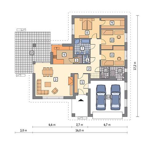 Rzut parteru POW. 161,0 m²