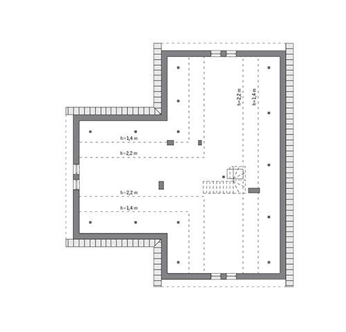 Rzut poddasza: do indywidualnej adaptacji (106,3 m2 powierzchni użytkowej)