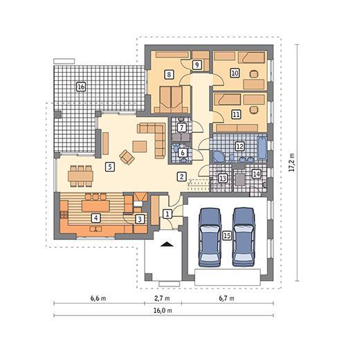 Rzut parteru POW. 158,3 m²