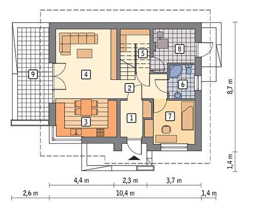 Rzut parteru POW. 63,6 m²