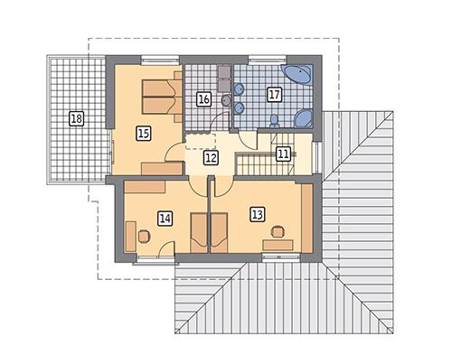 Rzut piętra POW. 93,6 m²