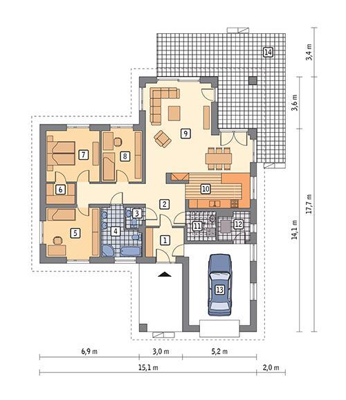 Rzut parteru POW. 145,8 m²