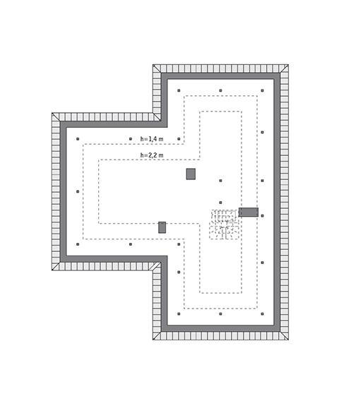Rzut poddasza: do indywidualnej adaptacji (86,6 m2 powierzchni użytkowej). Zmiana kierunku biegu opcjonalnych schodów (wejście z wiatrołapu) daje możliwość uzyskania niezależnego mieszkania.