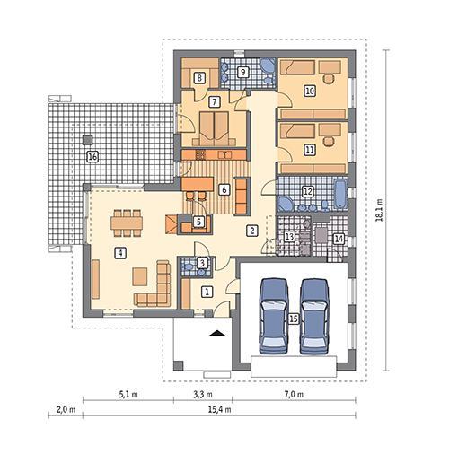 Rzut parteru POW. 168,1 m²