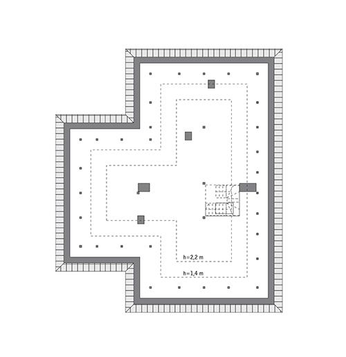Rzut poddasza: do indywidualnej adaptacji (87,5 m2 powierzchni użytkowej)