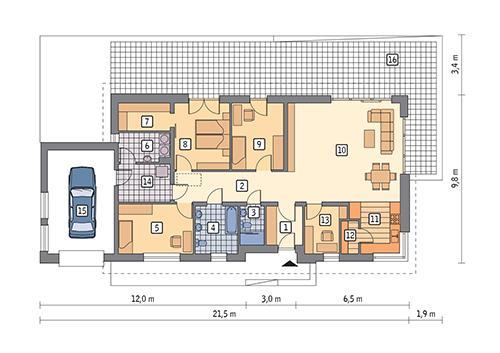 Rzut parteru POW. 151,5 m²