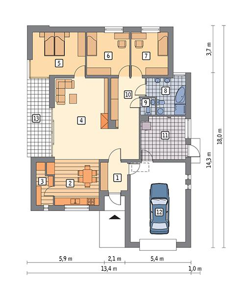 Rzut parteru POW. 155,2 m²